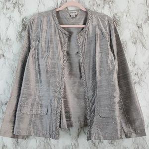 Chico's Silver Silk Lagenlook Open Blazer Jacket